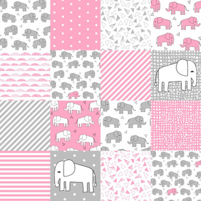 elephant quilt // pink and grey elephants fabric pink and grey nursery baby fabric