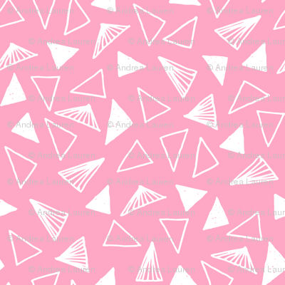 triangles // pink triangles fabric pink triangles design