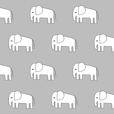 elephant // grey elephants nursery baby design elephants fabric fabric by andrea_lauren on Spoonflower - custom fabric