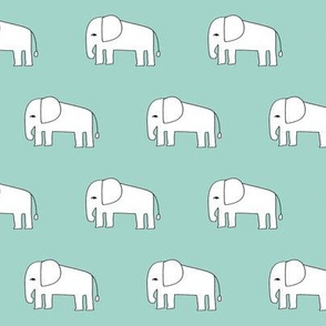 elephant // mint elephants fabric nursery baby animals fabric