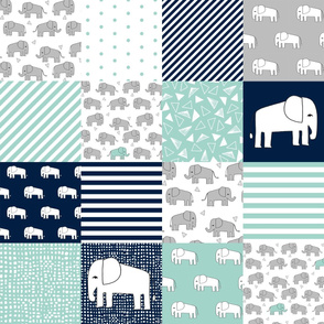 elephants // navy and mint elephant fabric nursery wholecloth quilt squares crib sheet nursery baby