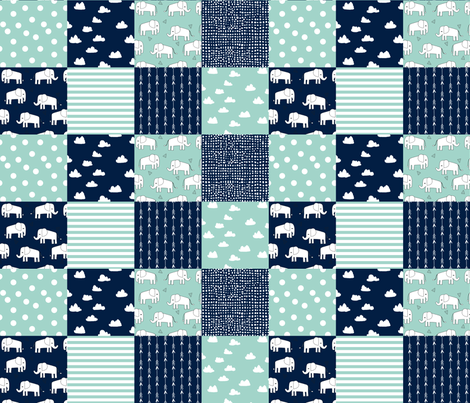 Elephants Patchwork Navy And Mint Quilt Squares Fabric