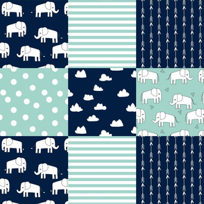 elephants patchwork // navy and mint quilt squares fabric nursery baby design quilt squares cheater quilt fabric