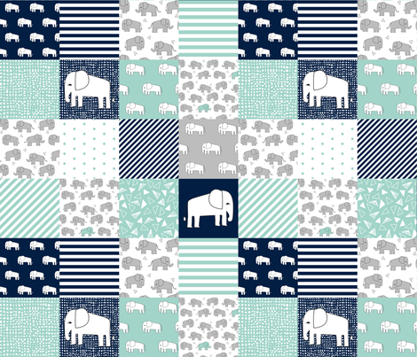 elephants cheater quilt // navy and mint squares fabric nursery baby design cheater quilts fabric by andrea_lauren on Spoonflower - custom fabric