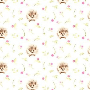 17-15N Watercolor Hedgehog Pink Floral SMALL || Flower Cute Baby Brown Woodland Forest Animal Olive Green Tan _Miss Chiff Designs