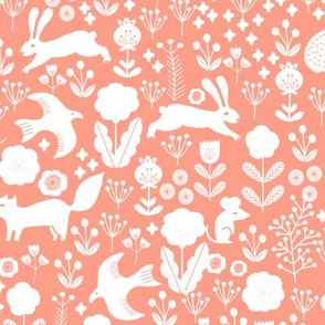 spring // coral spring animals coral blush girls fabric woodland florals flowers design