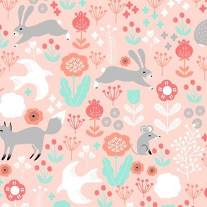spring // coral mint woodland forest animals floral spring fabric