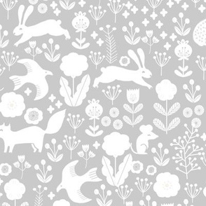 spring // woodland animals grey forest creatures andrea lauren fabric