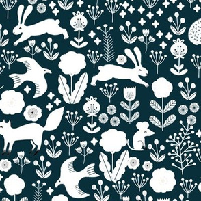 spring // navy spring florals woodland animals fox rabbit birds cute floral birds