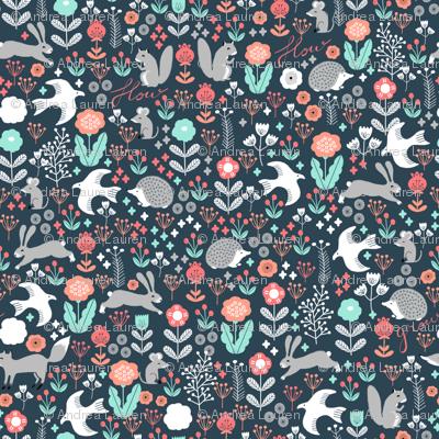 spring animals fabric // woodland animals forest birds fox rabbit cute spring florals