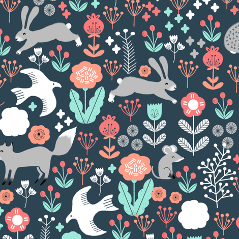 spring animals fabric // woodland animals forest birds fox rabbit cute spring florals fabric by andrea_lauren on Spoonflower - custom fabric