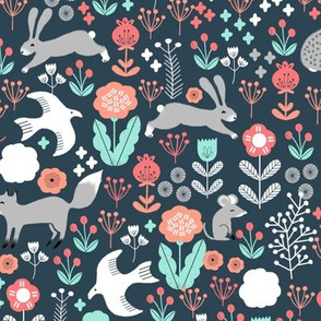 spring animals fabric // woodland animals forest birds fox rabbit cute spring florals