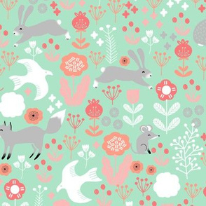 spring // mint and coral spring woodland animals forest spring florals andrea lauren fabric