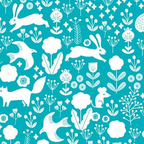 spring // turquoise florals spring animals woodland fabric baby nursery design