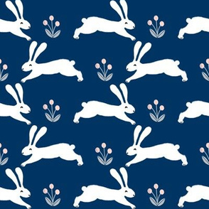 bunny rabbit // navy rabbit nursery baby fabric rabbits design nursery baby cute fabrics