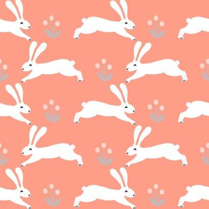 bunny rabbit // coral blush spring rabbit fabric cute rabbit nursery fabric design