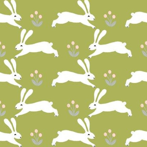 bunny rabbit // lime green rabbit fabric bunny design spring nursery baby design