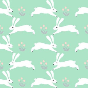 bunny rabbit // mint spring bunny fabric rabbits design rabbit spring forest fabric