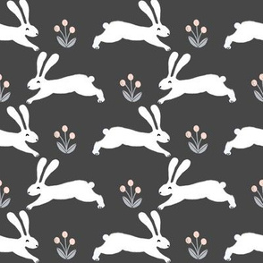 rabbit // charcoal running rabbit baby nursery fabric cute bunnies spring animals design