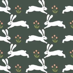 bunny rabbit // running rabbits easter cute spring animals design