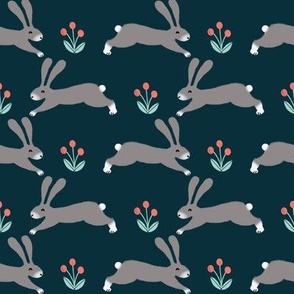 rabbit // rabbits running bunnies easter fabric spring nursery design