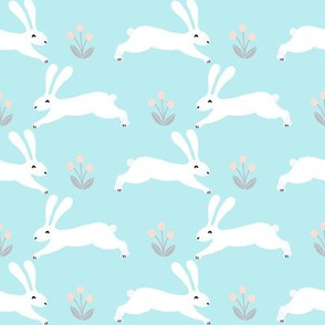 rabbits // bunny nursery baby pastel blue cute white rabbits easter rabbit pastels fabric