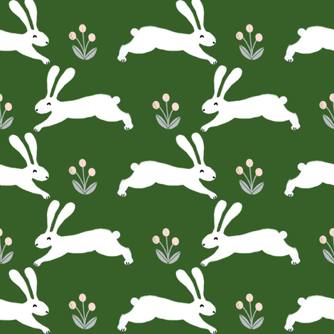 rabbits // green spring rabbit fabric green spring bunnies design fabric by andrea_lauren on Spoonflower - custom fabric