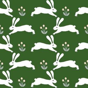rabbits // green spring rabbit fabric green spring bunnies design