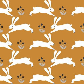 rabbits // ochre yellow mustard rabbit fabric nursery baby design spring rabbits