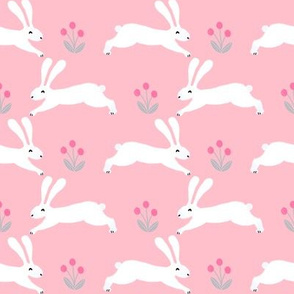 rabbit // spring nursery fabric easter bunny easter spring rabbits pink fabric
