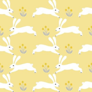 rabbit // spring yellow pastel spring nursery fabric easter rabbit easter spring fabrics