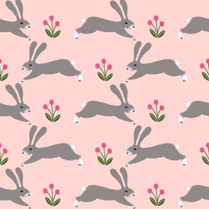 rabbit // spring pink rabbits nursery baby design spring floral easter rabbit design