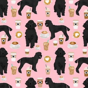 black poodle fabric dogs and coffees fabric blossom pink
