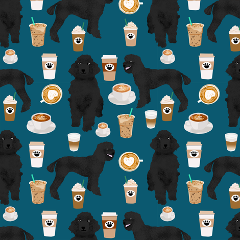 black poodle fabric dogs and coffees fabric sapphire blue fabric by petfriendly on Spoonflower - custom fabric