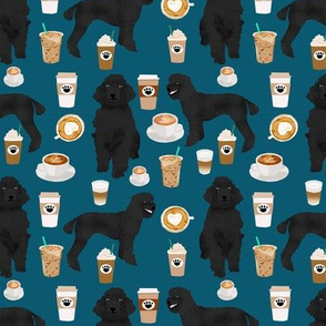 black poodle fabric dogs and coffees fabric sapphire blue