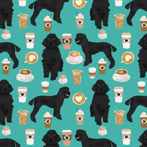 black poodle fabric dogs and coffees fabric turquoise