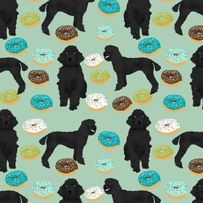black poodle fabric dogs donuts fabric mint green