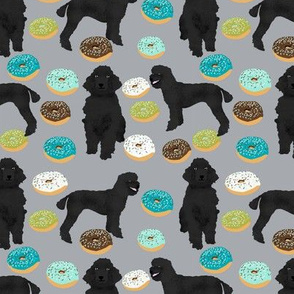 black poodle fabric dogs and donuts fabric - grey