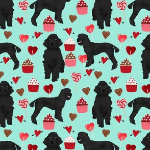 black poodles fabric dogs valentines day fabric - aqua