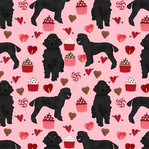 black poodles fabric dogs valentines day fabric - blossom pink
