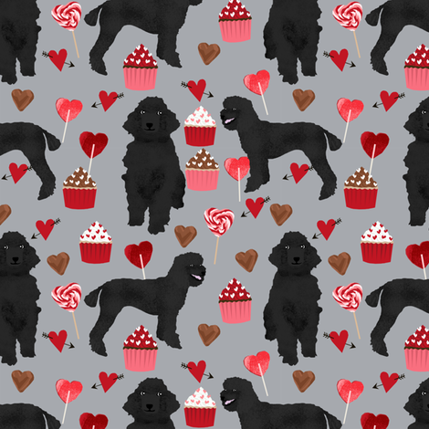 black poodles fabric dogs valentines day fabric - grey fabric by petfriendly on Spoonflower - custom fabric