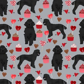 black poodles fabric dogs valentines day fabric - grey