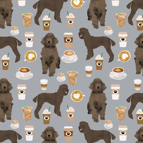 brown poodles and coffees fabric cute dog fabric - grey