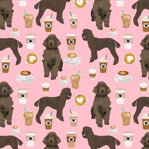 brown poodles and coffees fabric cute dog fabric - blossom pink