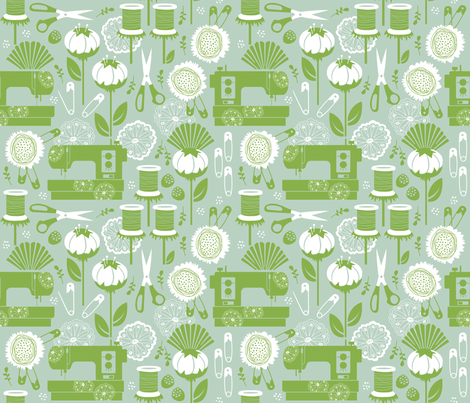 Garden of Sewing Supplies - Original Limited Palette fabric by run_quiltgirl_run on Spoonflower - custom fabric
