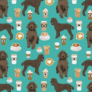 brown poodles and coffees fabric cute dog fabric - turquoise