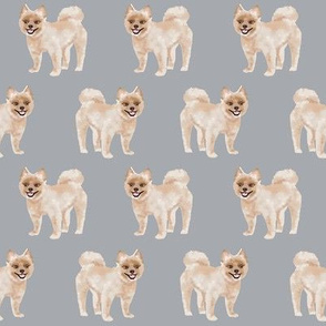 shorthaired pomeranian dog fabric cute pom dogs design