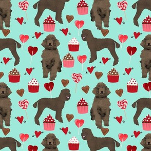 brown poodles valentines day fabric cute love dogs design - aqua