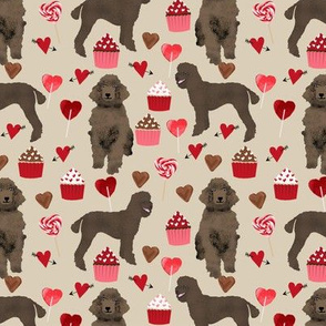 brown poodles valentines day fabric cute love dogs design - sand