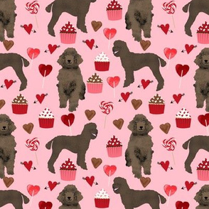 brown poodles valentines day fabric cute love dogs design -blossom pink